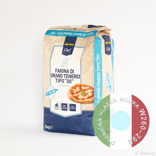 Italská pšeničná hladká mouka di grano tenero 00, W 250–290, 5 kg.