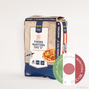 Italská pšeničná hladká mouka Manitoba 0, W>350, 5 kg.