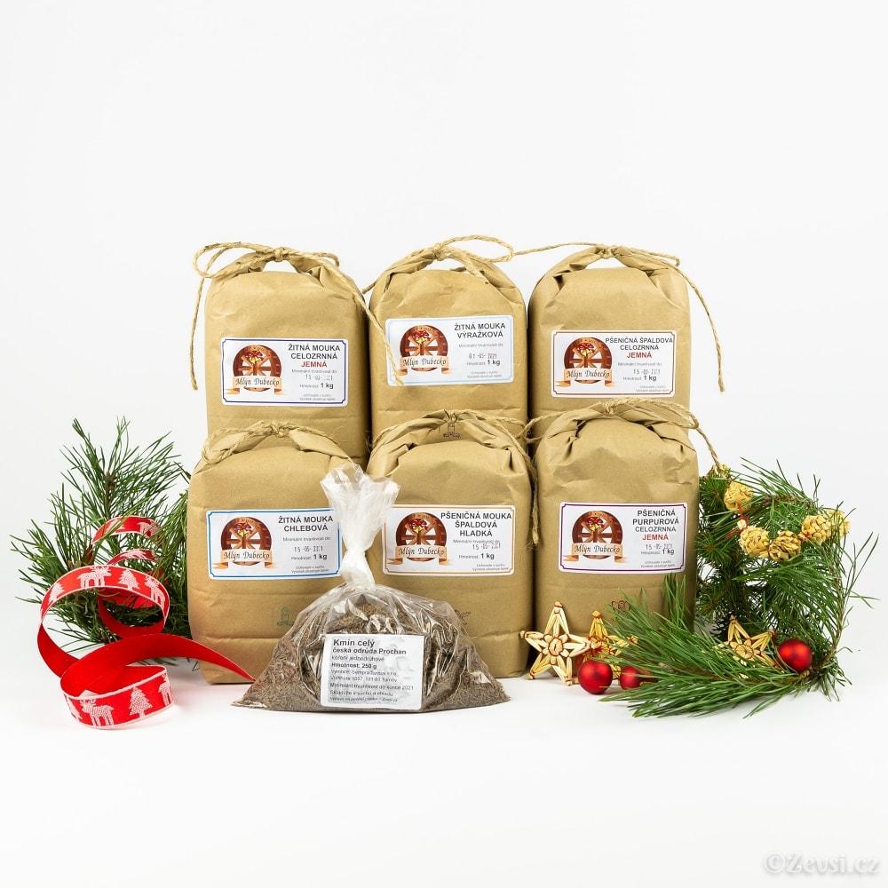 Dárkový balíček 6 různých mouk a český kmín.