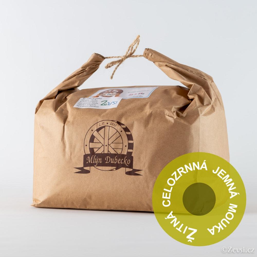 Žitná celozrnná jemná mouka, 5 kg.