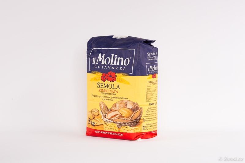 Italská mouka, pšeničná krupice semolina Il Molino Semola Rimacinata pro přípravu čerstvých těstovin, těsta na chléb, pizzu, focacciu a pečivo, tyčinky Grissini i třeba na kuskus.