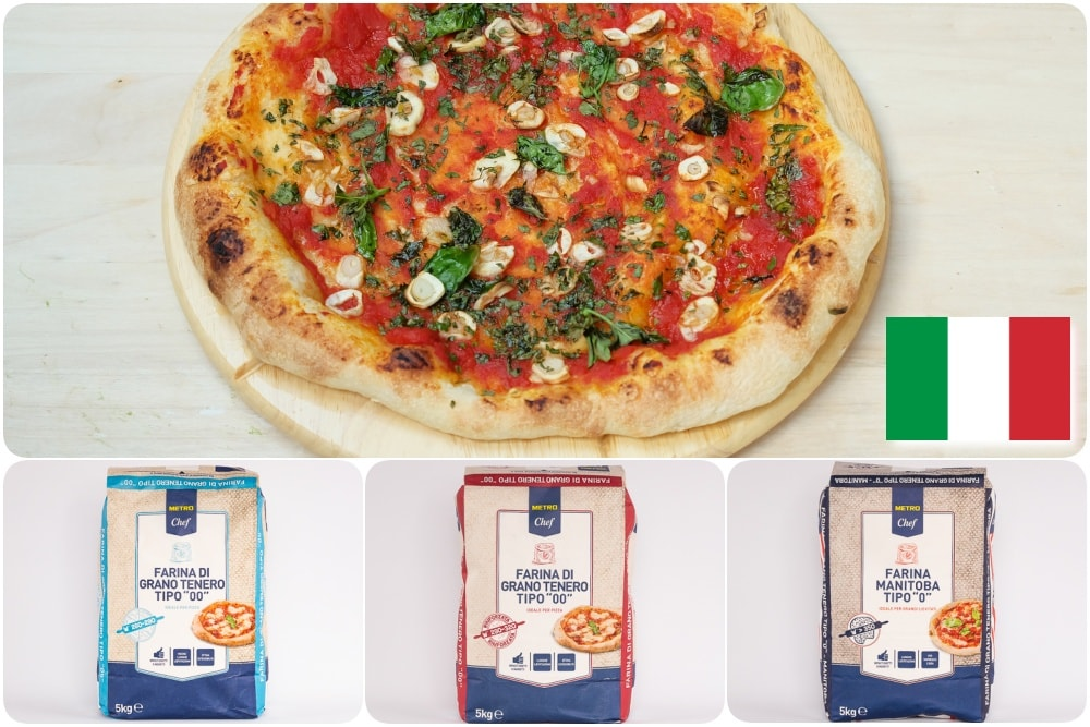 Italská mouka a výbava na přípravu pizzy a pečiva.