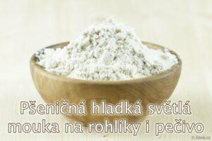 Pšeničná hladká mouka světlá Professional z českých mlýnů na tradiční bílé pečivo, housky, rohlíky, bagety, bílý chléb, výražkový světlý chléb, také do cukrářských dobrot.